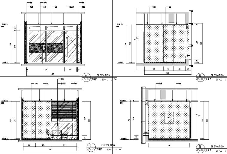 [重庆]现代风格办公空间设计施工图(附效果图+材料表)