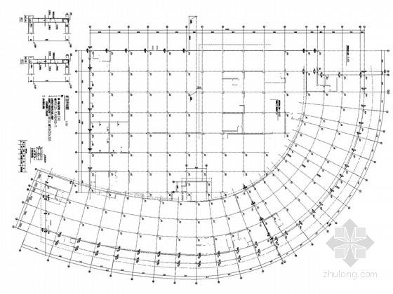 16层框架核心筒半弧形结构施工图(构架层、管桩、含建施)