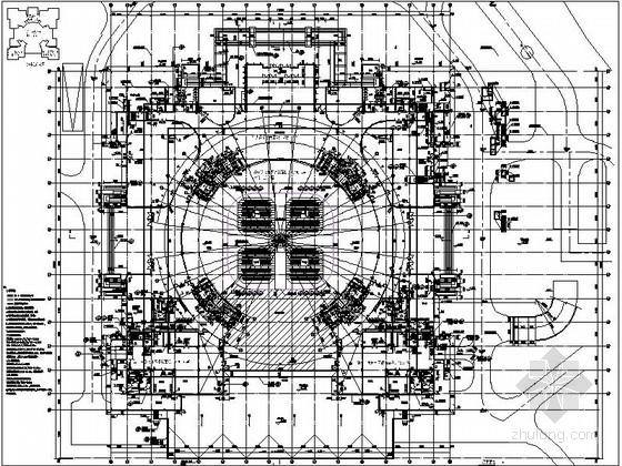 圆形高层文化演艺中心建筑设计平面图