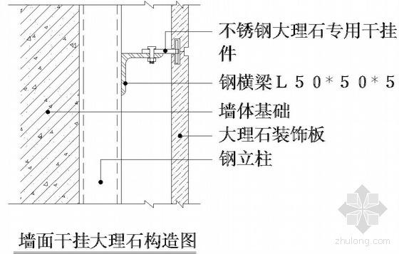 某墙面干挂大理石节点构造详图