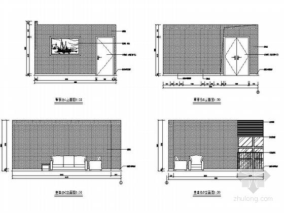 [深圳]城市中心区奢华典雅酒店设计CAD施工图(含效果)董事长办公室立面图