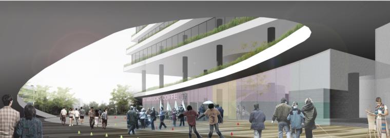 交错水平板大学研发办公大楼建筑效果图