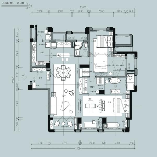 一个150m²平层户型16组室内设计方案-6-4