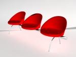 红色休息沙发3D模型下载