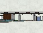 居住区围墙大门景观模型设计(新中式风格)