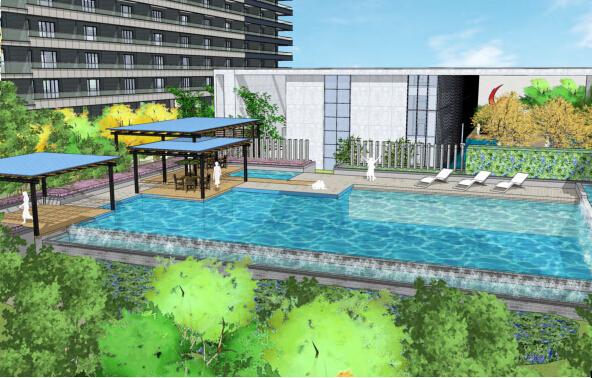 城市森林居住区景观深化设计——泳池效果图