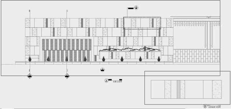 四川成都金色海蓉景观设计施工图-水景正面图