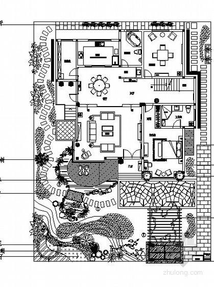 某别墅庭院景观设计施工图(含效果图)