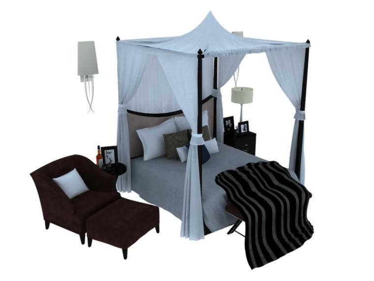 舒适温馨双人床3D模型下载-1