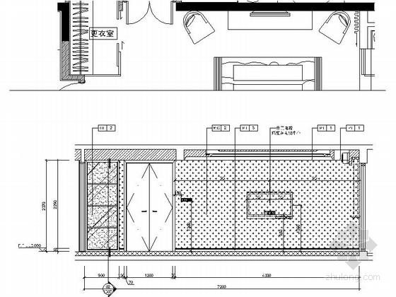 [北京]房山区现代高档四居室样板间装修施工图主卧立面图