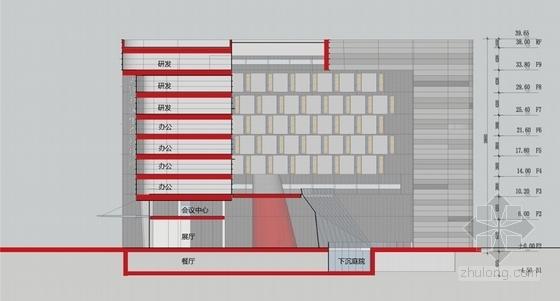 [江苏]科技园区管理服务中心建筑设计方案文本(垂直绿化)-科技园区管理服务中心剖面图