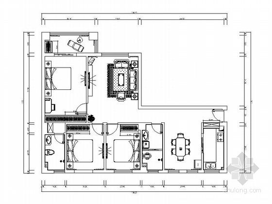 [原创]欧式有质感三居室室内施工图(含效果图)