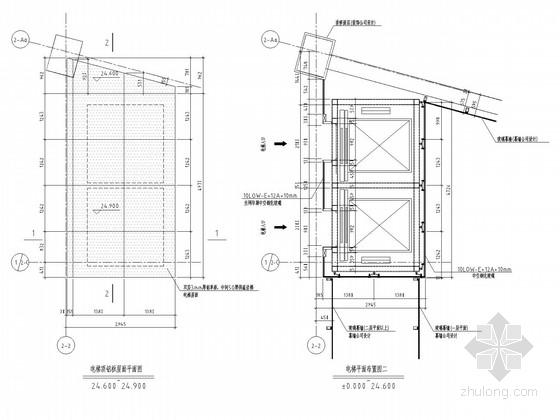 观光电梯钢框架结构施工图(含幕墙结构)