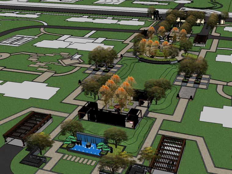 新中式和諧居住區景觀SU模型
