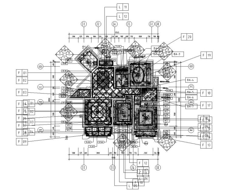 新古典样板房施工图设计(带效果)-立面索引图
