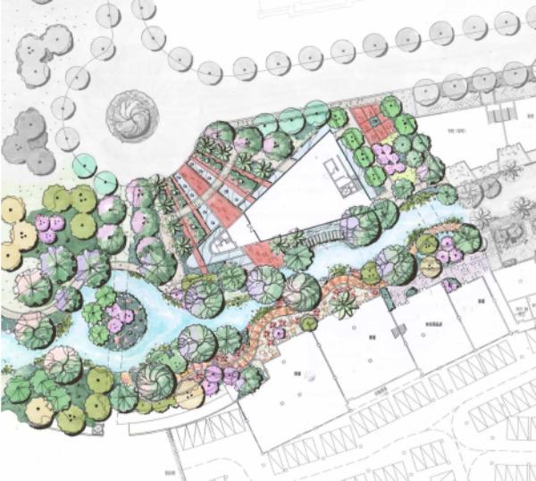 [广东]多功能多层次滨水休闲景观设计方案-分区平面图
