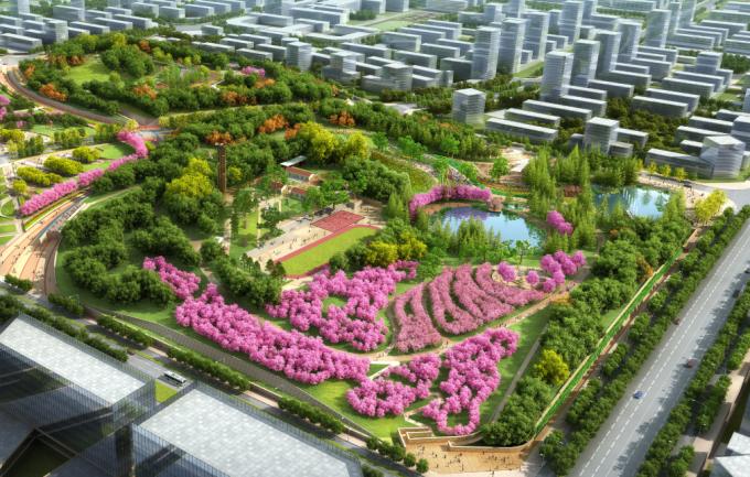 [安徽]生态人文气息流线型山体高差森林公园景观设计方案-景观核心区鸟瞰效果图
