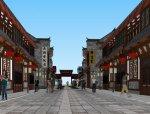 东方商业街新古典风格,2层商业街模型设计(su)