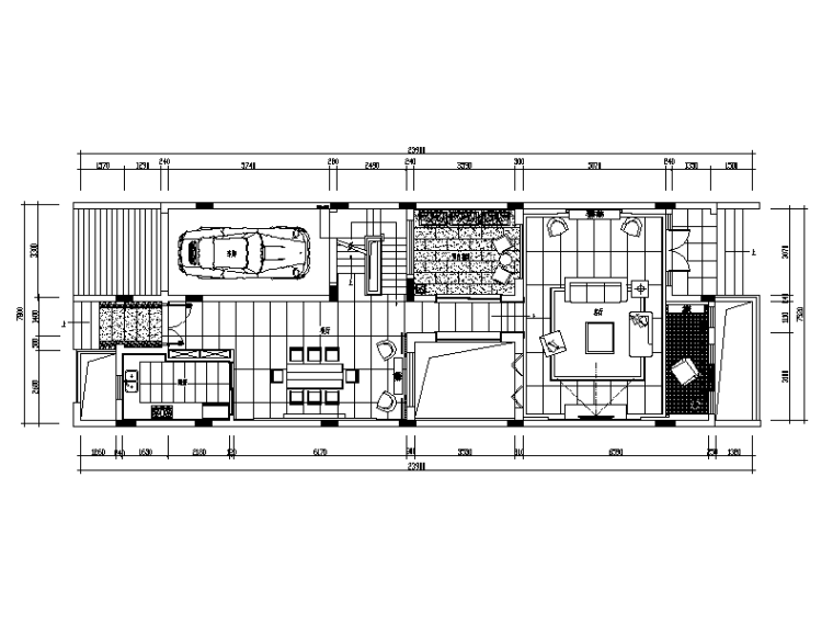 现代中式别墅生物v别墅cad施工图(含效果图)绘制七上风格图图片