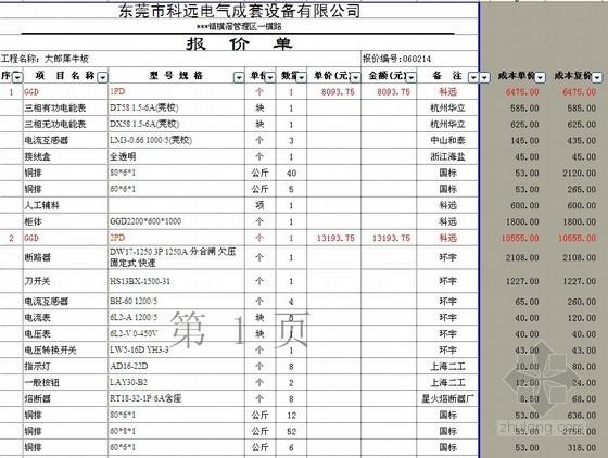 [广东]高压配电工程630KVA变压器安装报价书(含图纸)