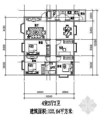 两室两厅一厨两卫122.64平方米