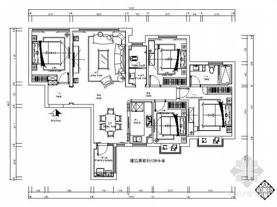 [原创]四室两厅现代温馨家装室内施工图(含效果图)