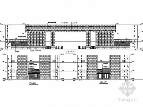 砖混结构职教中心主次大门结构施工图(含建筑图)