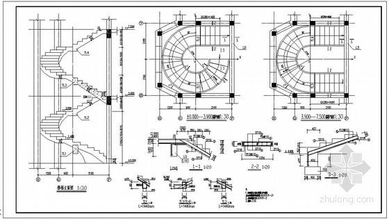 某别墅螺旋楼梯节点构造详图
