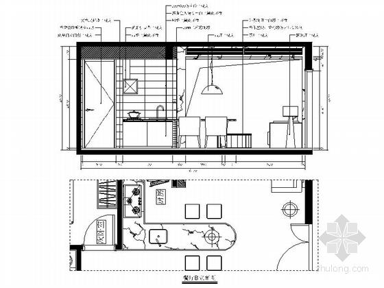 [福州]特色时尚住宅区现代简约两居室样板房装修图(含效果)餐厅立面图