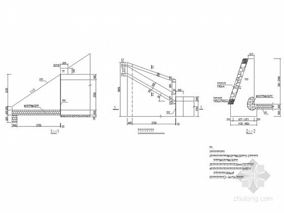 2-3m×2m双孔箱涵八字进水口大样图