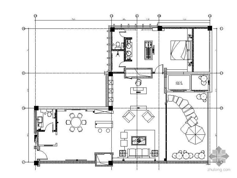 某酒店S-11型客房立面图_1