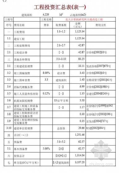 北京建安工程预算书资料下载-北京某研究所办公楼改造建安工程概算书实例(2010)
