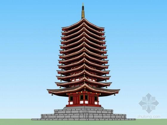 日式宝塔建筑sketchup模型