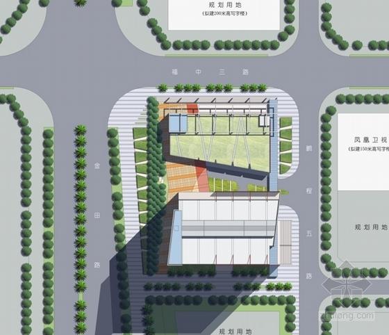 [广东]现代风格超高层商务办公建筑设计方案文本(含CAD)-现代风格超高层商务办公建筑总平面图