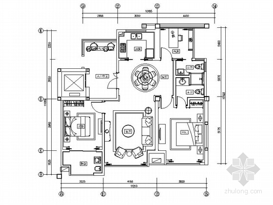 [苏州]某110平欧式风格四室两厅室内装修图(含效果)