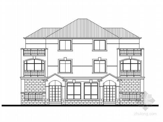 三套三层双拼别墅建筑方案图(180平方米)