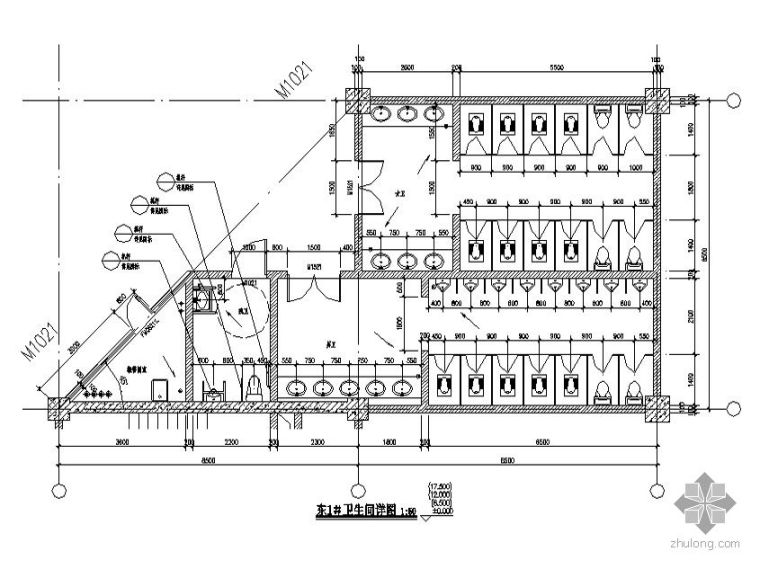 [威海市]某城市中心经典休闲购物广场建筑设计套图-卫生间大样