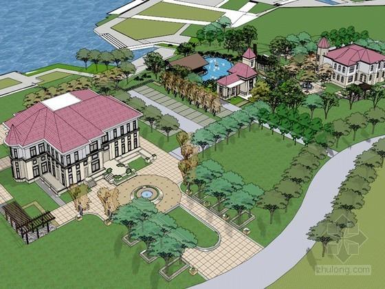 度假公园广场SketchUp模型下载