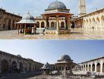叙利亚战争后的城市建筑对比,满地废墟浓烟弥漫