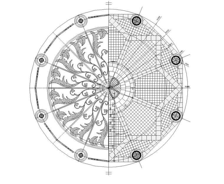 欧式风格亭子设计详图 (混凝土结构)