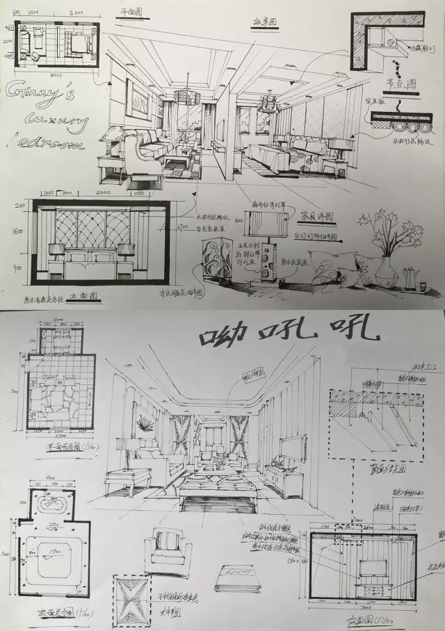 室内手绘 室内设计手绘马克笔上色快题分析图解_28
