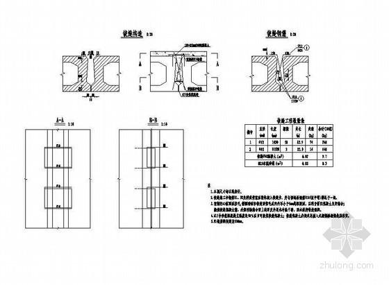 1×14米预应力混凝土空心板铰缝钢筋构造节点详图设计