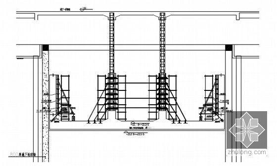[江苏]逆作法地铁双柱三跨框架车站施工组织设计166页(高压旋喷桩复合挡土墙)-框架柱支模示意图