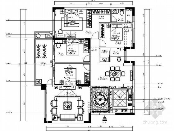 [南宁]简约温馨四居室室内设计CAD施工图