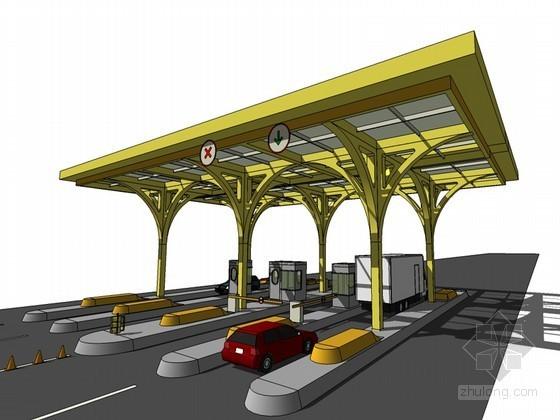 公路收费站SketchUp模型下载