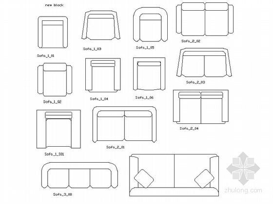 沙发平面CAD图块下载