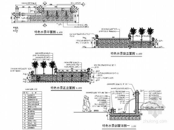 校区中心公园水池景墙施工图