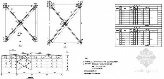 某钢结构厂房之间支撑节点详图