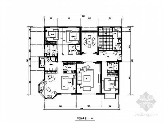 [北京]望京某高档公寓大楼Aa-1户型四居室装修图