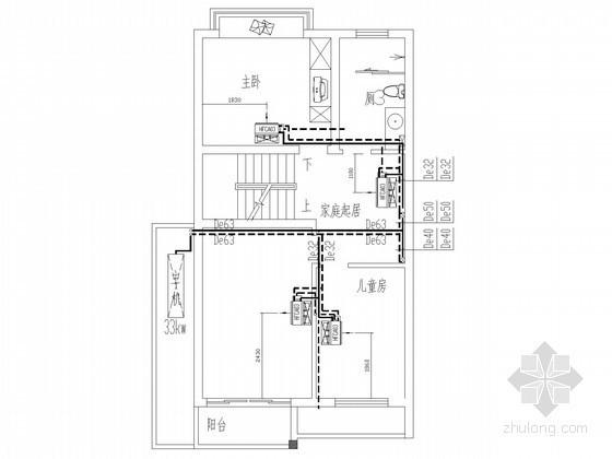 联排建筑中央空调系统设计施工图(空调电气)